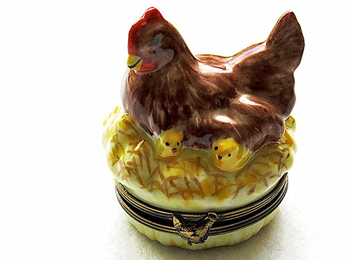 French Limoges Hen and chicks porcelain box