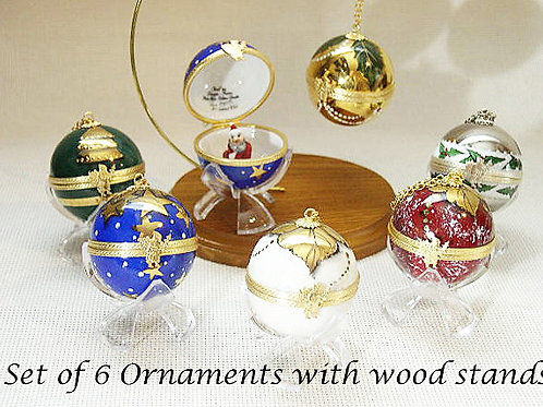 Limoges set of 6 Christmas Ornaments with stands