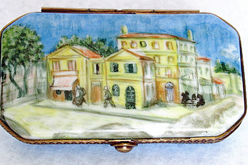 "Vincent Van Gogh, Limoges porcelain ""The yellow house"" hand painted box"