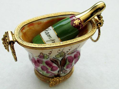 Limoges champagne bottle in bucket