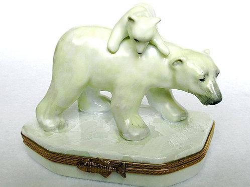 Limoges porcelain polar bear hand painted hinged box