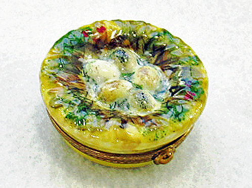 Bird's nest Limoges hand painted box
