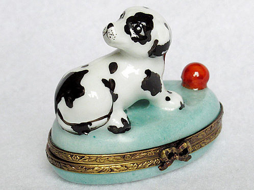 Limoges porcelain hand painted Dalmatian Puppy box