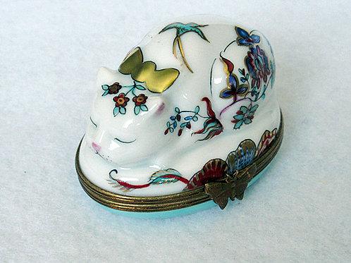 Limoges handpainted cat box