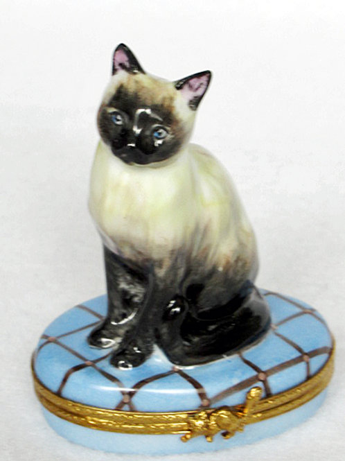 Siamese cat limoges hand painted hinged box