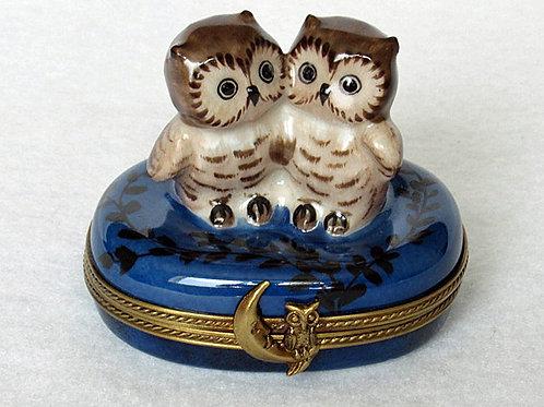 Limoges owls trinket box
