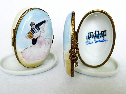 Limoges hand painted porcelain box, Viennese Waltz dancers