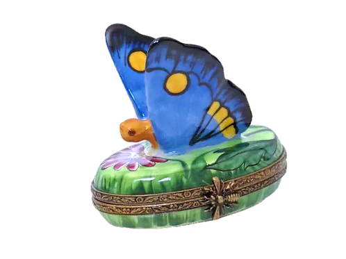 BUTTERFLY, BLUE LIMOGES BOX