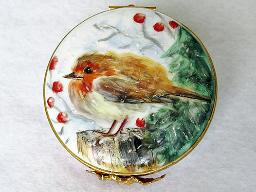 Limoges hand painted red robin Christmas box