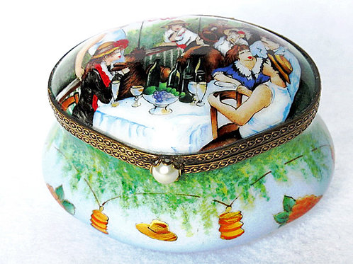 "Renoir's ""Luncheon of Boaters"" Limoges porcelain hand painted box"