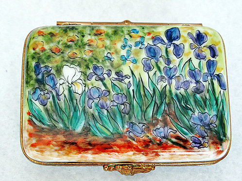"""Irises:  Limoges handpainted  box"