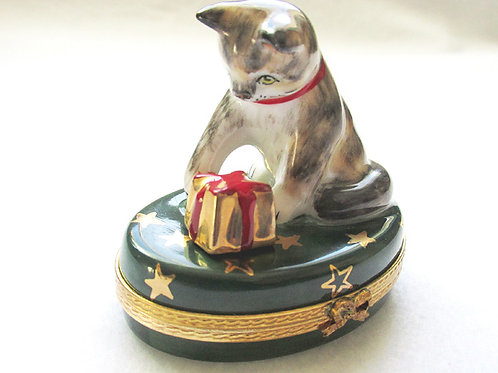 Limoges Christmas Cat