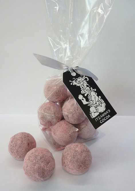 Raspberry Coated Champagne Truffles