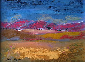 Acrylic, oil pastel landscape