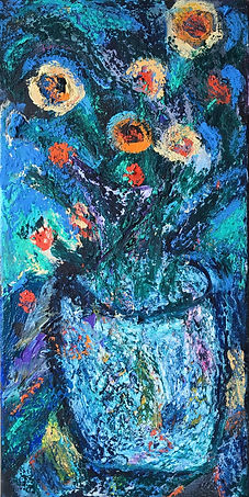 acrylic, oil pastel floral painting