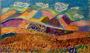 Landscape in acrylic and oil pastel