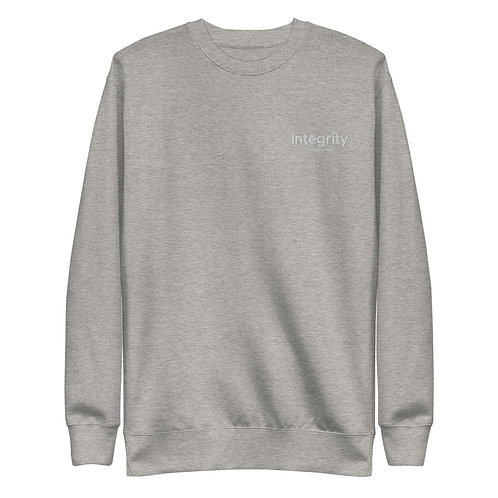 Embroidered White Integrity Unisex Fleece Pullover