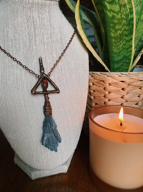 Fire Witch Broom Necklace