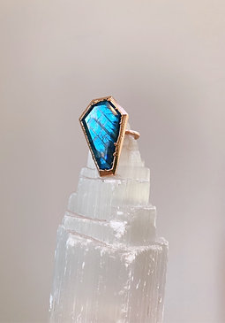 Blue Labradorite Coffin Ring