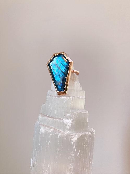 Blue Labradorite Coffin Ring