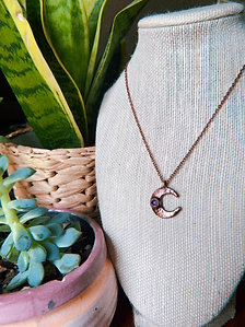 Copper Amethyst Moon Necklace