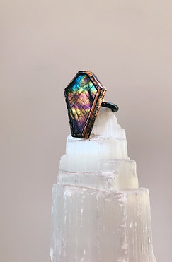 Pink Labradorite Coffin Ring
