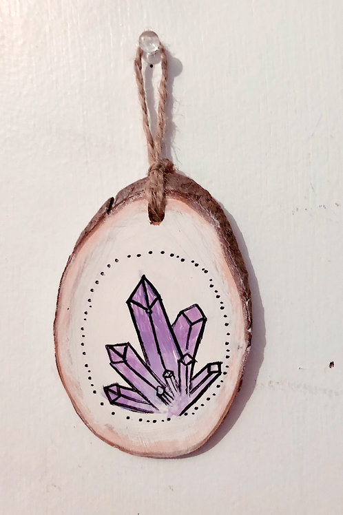 Hand painted wood crystal ornament/wall hanging