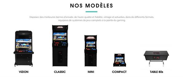 location borne arcade, multiples modèles