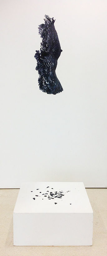 'Embodiment' photographed in profile, haning on a translucent wire and above a plinth, in exhibition at Tent Gallery, Edinburgh in 2016.