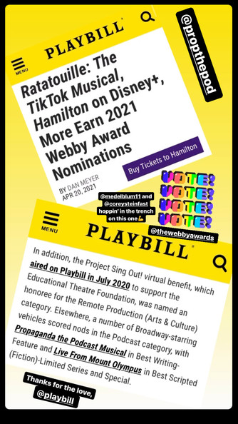 Propaganda Podcast Mentioned in Playbill Article!