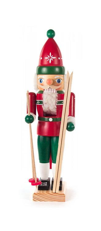 "Nutcracker Skier - Red/Green 13.8""H"