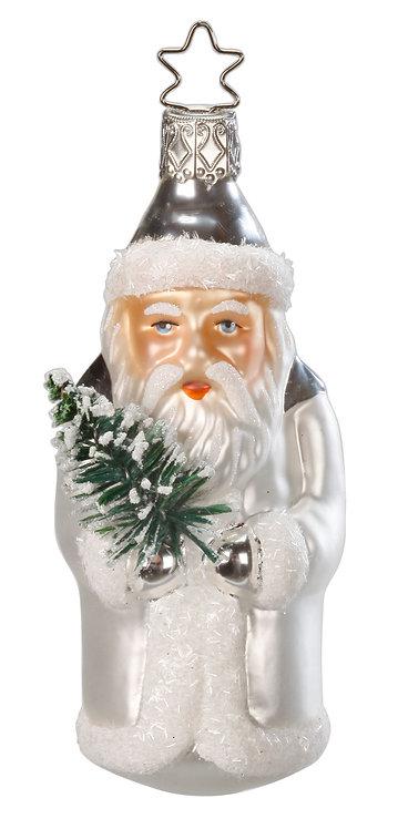 "Glass Ornament - ""Noble Nikolaus"" (White/Silver) 4.2""H"