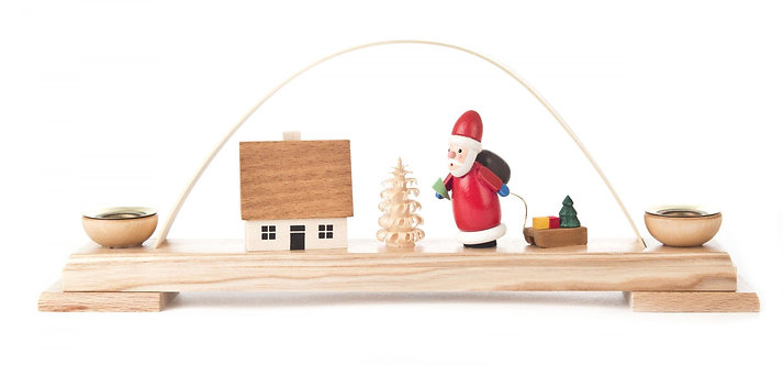 "Candle Arch Santa and house (holds candles) 3.9""H"