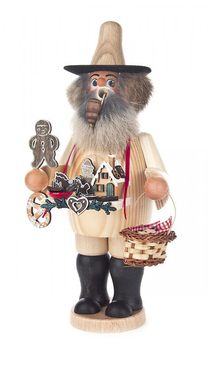 "Smoker - Man Selling Gingerbread - Lightly painted 9.9""H"