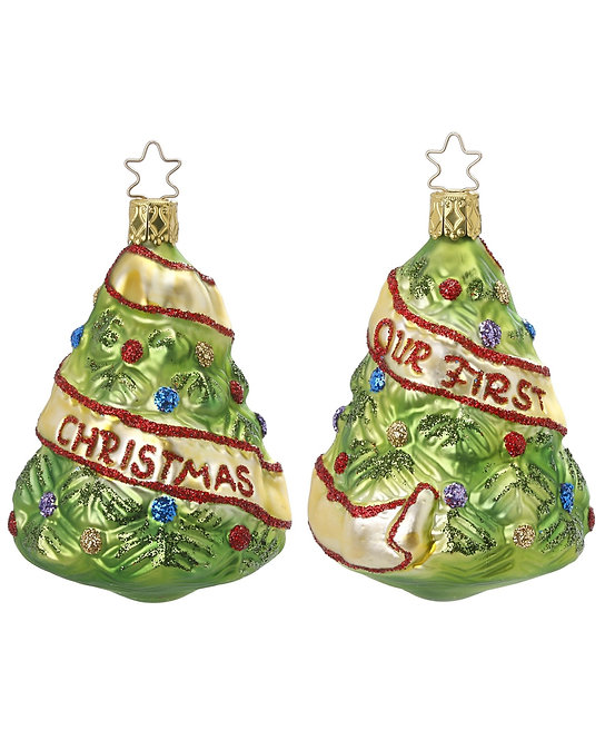 "Glass Ornament - ""Newlywed Tree"" (Our 1st Christmas) 3.8""H"