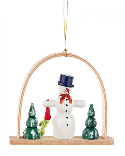 "Ornament - Snowman with Carrot under arch - 2.8""H"