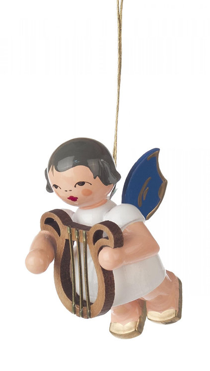 "Ornament - Angel with Harp, blue wings - 2.0""H"