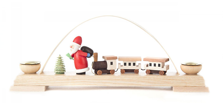 """Candle Arch Santa and train set (holds candles) 3.9""""H"""