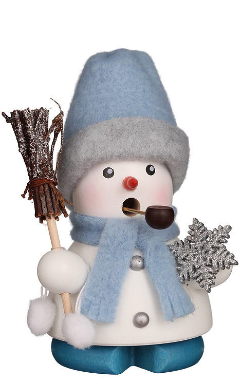 """Smoker - Snowman (holding a wooden staff and a snowflake) Painted - 4""""H"""