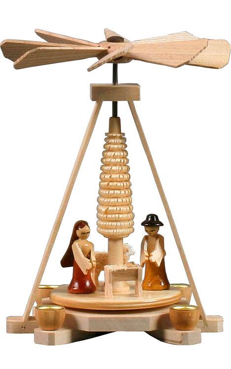"Decoration - Mini-Pyramid Nativity (holds candles) - Natural  6""H"