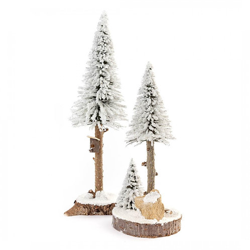 "Decoration Trees with Birdhouse - White 7.9""H - 10.7""H (set of 2)"
