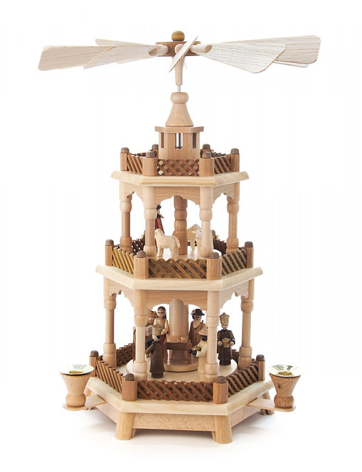 "Pyramide Nativity (2 Stories, holds candles) - Natural 16.6""H"