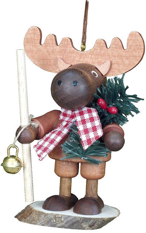 "Ornament - Elk (holding Christmas twig) - Natural 5""H"