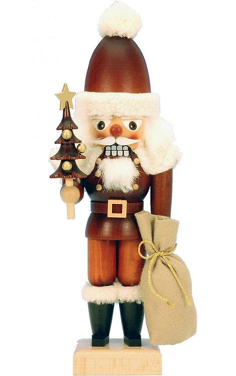 "Nutcracker Santa (with tree and sack) - Natural 11.5""H"