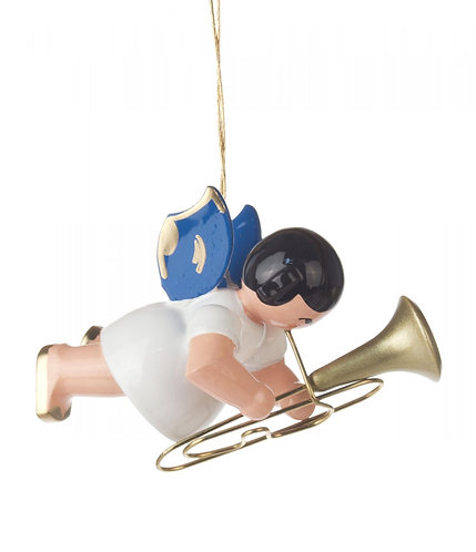 """Ornament - Angel with Baritone, blue wings - 2.0""""H"""
