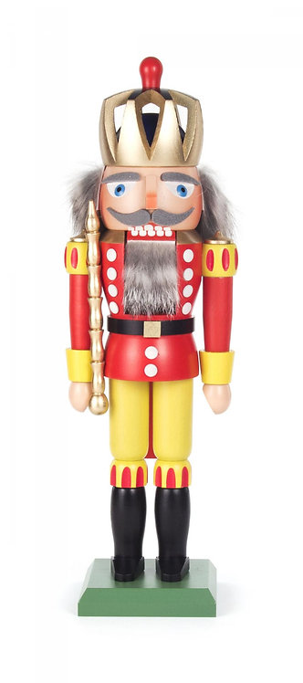 """Nutcracker King (with a pierced crown) - Red/Yellow 11.9""""H"""