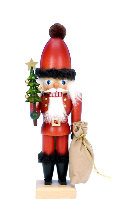 "Nutcracker Santa (with tree and sack) - Painted 12""H"