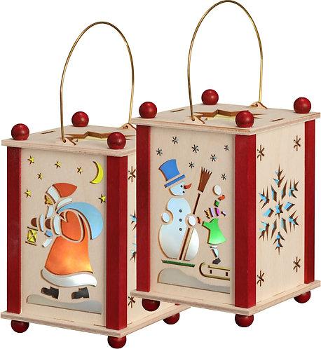 "Decoration - Lantern - Santa Claus, Snowman and Snowflake (LED lighting) 5.6""H"