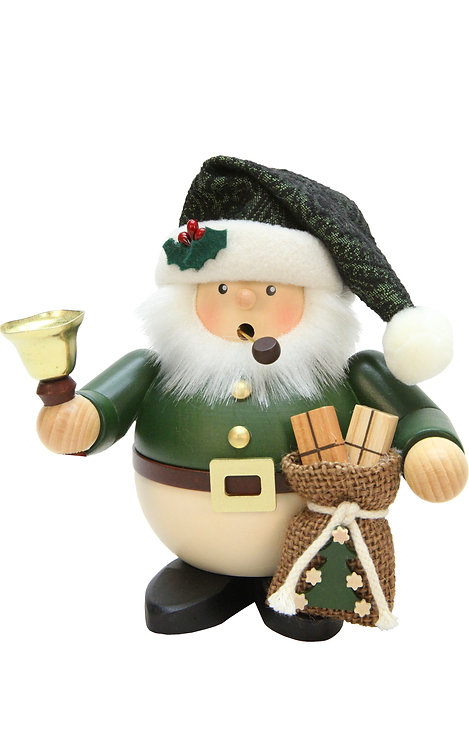 """Smoker - Santa (with sack and bell) - Green 6.3""""H"""