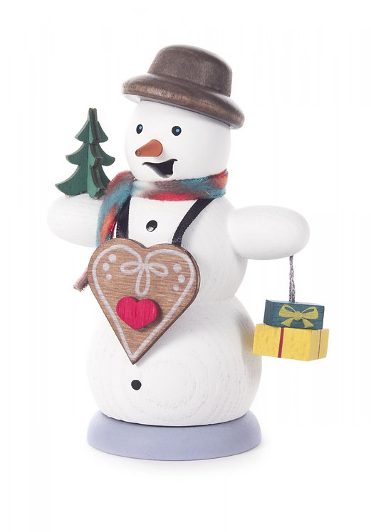 """Smoker - Snowman with Gingerbread Heart - Painted 5.3""""H"""